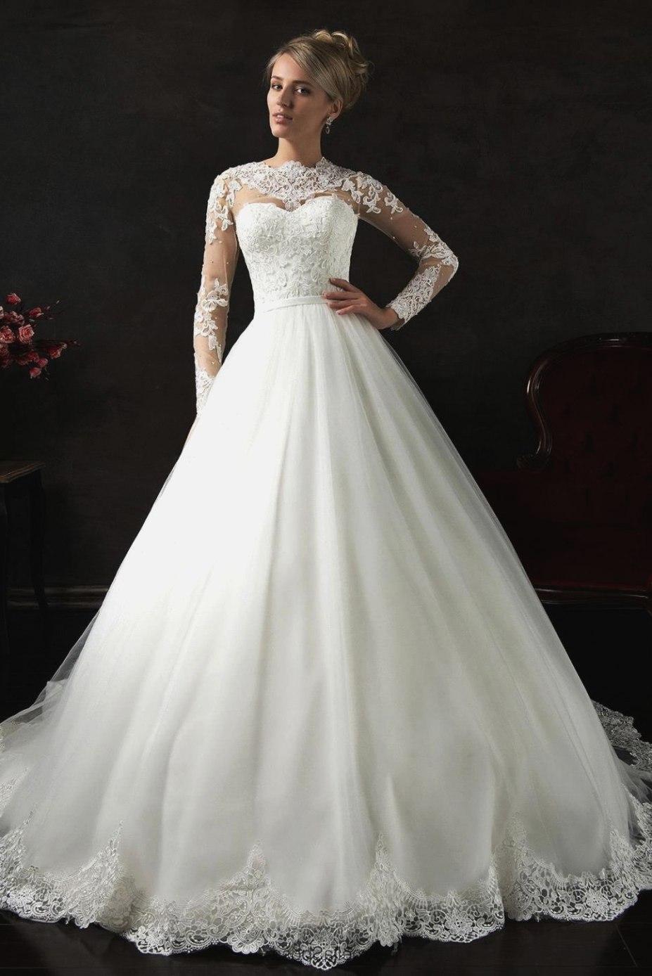 Rochie de mireasă prințesă cu mâneci